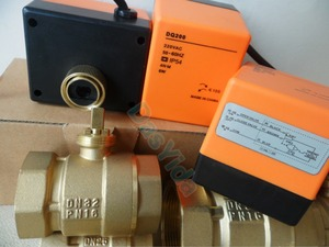 "Image 3 - Válvula de esfera de bronze motorizada, atuador elétrico, ac220v, dn15 (g1/2 "") para dn50 (g2"") válvula de interruptor de controle automático, 2 vias, 3 fios"