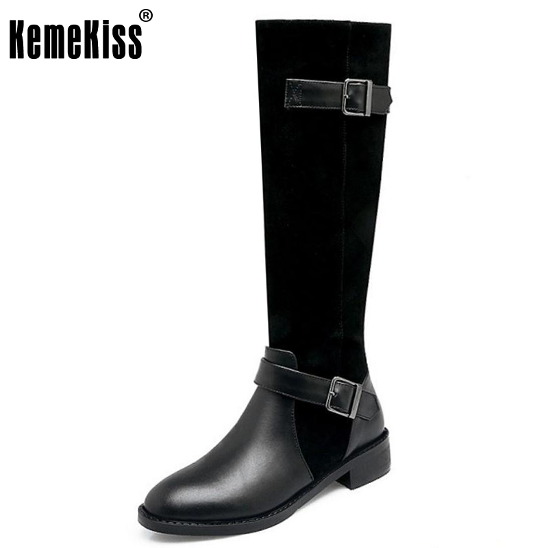 KemeKiss Women Real Leather Over Knee Boots High Heel Boots Zipper Buckle Knight Boots In Winter Shoes Women Footwear Size 34-39 woman real leather boots 2015 new winter boots black apricot zipper fashion martin boots 34 39 comfortable women knee high boots