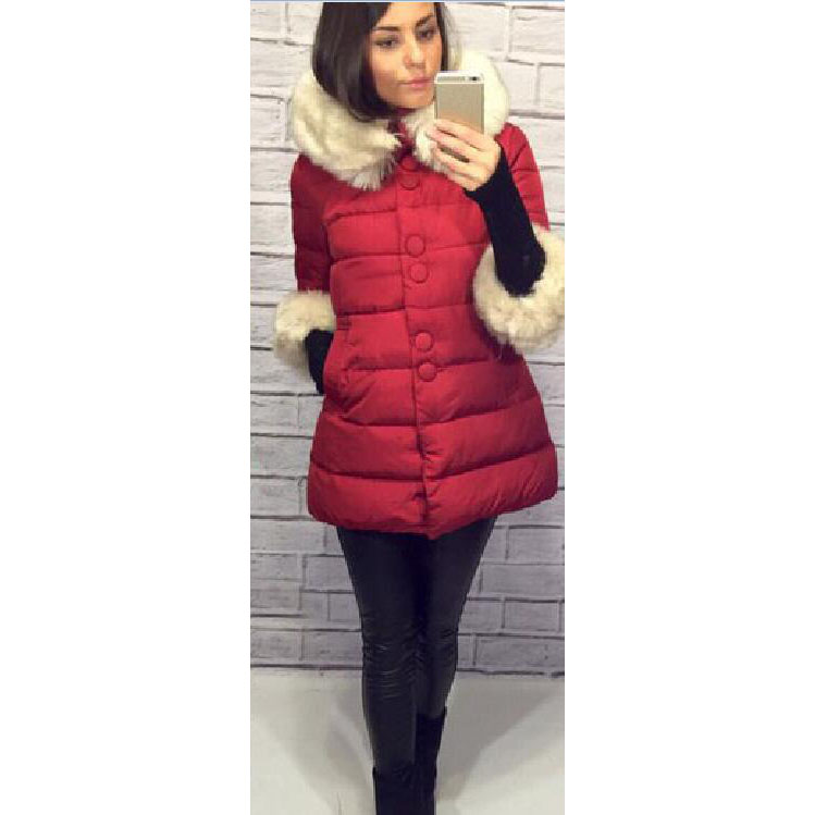 New Thick Warm Winter Plus Size Jacket Women Large Fur Collar Cotton-Padded Slim Outwear Casual Coat Parka new winter women jacket down cotton padded coat large faux fur collar parka outwear female plus size thick warm long coats ab435