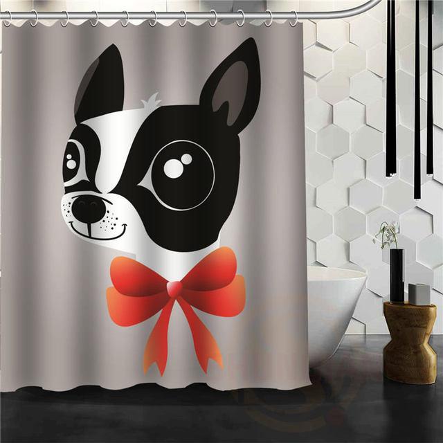 New Hot Personalized Creative Cartoon Lovely Dog Shower Curtain Pattern  Custom Bath Curtain Fabric Polyester Waterproof