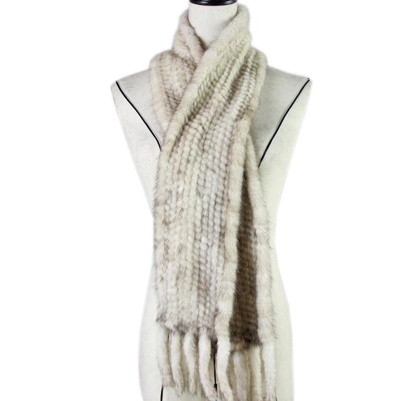 New Arrival Women Scarves Winter 2017 Knitted Real Mink Fur Scarf For Women Warm Winter Fur