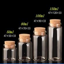 Cam mantarlı şişeler el sanatları şişeler kavanoz düğün hediyesi 50ml 80ml 100ml 150ml boş kavanoz konteynerler şişeleri 24 adet ücretsiz kargo