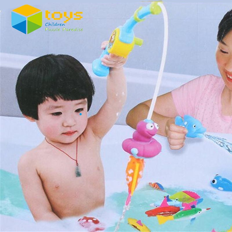 Baby Bath Toys Bathtub Bathroom Fishing Water Pistol Squeeze Spraying Dabbling Early Educational Game Play Set for Children Kids