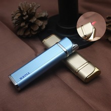 Mini Portable Metal Long Strip Inflatable Windproof Lighter Refillable Gas Lighters Red Flame Ultra-thin Cigarette