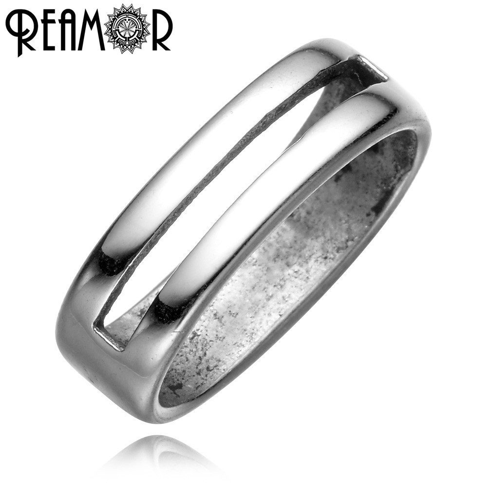 REAMOR Casting 316l Stainless Steel Hollow Stripe European Square Holes Spacer Beads Charms For DIY Bracelet Jewelry Making