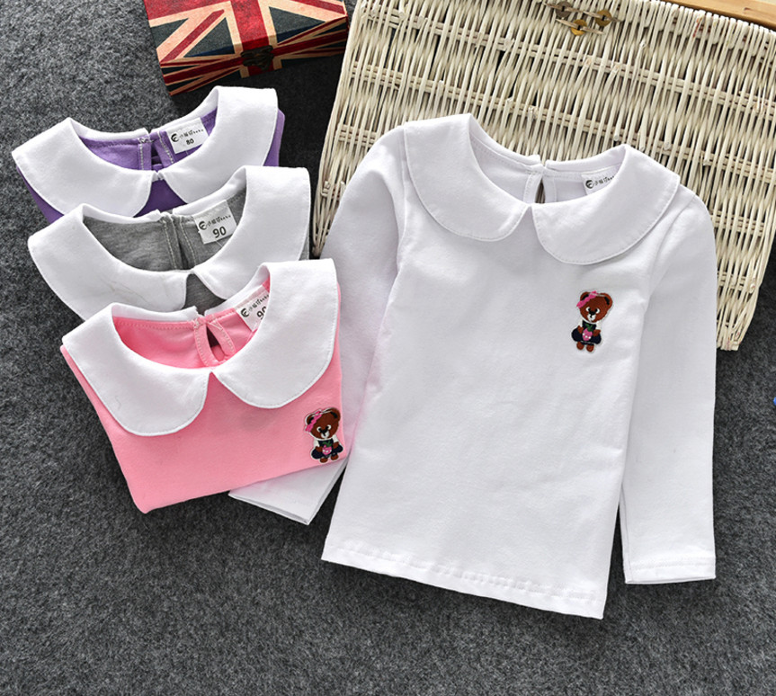 Retail Girls Shirts Baby Clothes Girl Doll Collar Bottoms Shirt Long Sleeve Children Wear Spring Cotton Cartoon Baby T-Shirts blue lace up design chimney collar cold shoulder long sleeves t shirts