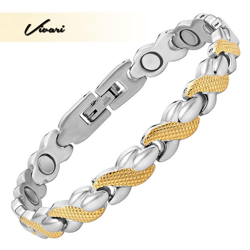 Vivari 2017 2-тон Ионные Покрытие Магнитная Мода браслет для Для женщин высшего качества браслет Шарм био ювелирные изделия дамы