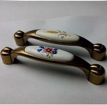 96mm ceramic kitchen cabinet handles bronze dresser pull antique brass drawer cupboard furniture handles pulls knob