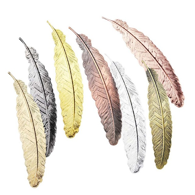 Creative Silver Gold Metal Feather Bookmark Chinese Style Vintage Nice Cool Book Markers School Supplies Party Gifts For Guests