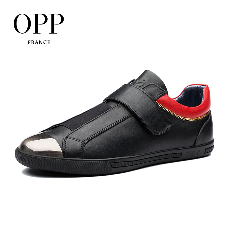 OPP Hook & Loop Flats Casual Shoes Cow Leather Loafers footwear for Men New 2018 Men Shoes Loafers For Men Metal Shoes klywoo men shoes casual 2017 new fashion leather driving shoes men spring autumn flats for men casual shoes loafers breathable