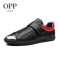 OPP Hook Loop Flats Casual Shoes Cow Leather Loafers Footwear For Men New 2018 Men Shoes