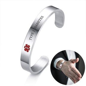 363632743 Alerta Médica mensaje grabado brazalete pulsera de identificación para las  mujeres de los hombres de acero inoxidable de la DIABETES de tipo 1 alergia  ...