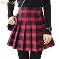 Outono inverno moda feminina xadrez preto vermelho saias Plissadas retro saia de cintura saias meninas quente inglaterra estilo quente MINI saias