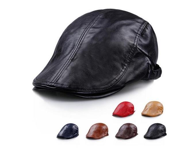 Wholesale 10pcs lot COOL Men Spring Flat Caps 2018 Women Summer Red PU Hats  Mens Plain Flatcap Best Ladies Fall England Flat Cap 98ccdbadb26