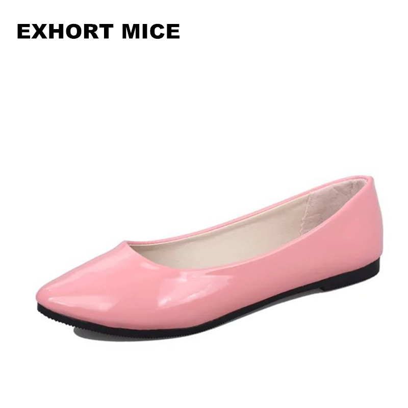PU Patent Leather Shoes Woman Single Shoes Shallow Round Tow Spring Autumn Ballet Flats Shoes Contracted Big Size 35-42