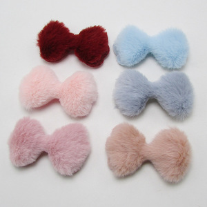 5.5x3cm 36pcs/lot Children's hair Clip Accessories DIY Handmade Furry Felt Bowknot Padded Applique for Headwear Decoration(China)