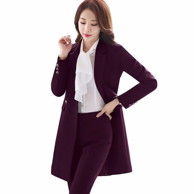 2018 New Winter Women Long Blazer Elegant Long Sleeve Formal  For Office Lady Black Blue Red