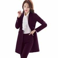 2018 New Winter Women Long Blazer Elegant Long Sleeve Formal For Office Lady Black Blue Red
