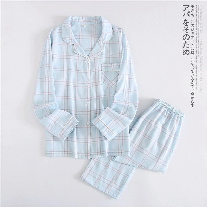한국 신선한 단풍 잎 잠옷 여성 100 % 거즈면 긴 소매 - 속옷 - 사진 4