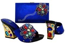 Bunte Strass Blume Design Hochzeit Schuhe Und Tasche Set Zusammenpassende Sandale African Italienische Schuhe, die Beutel-set BCH-36