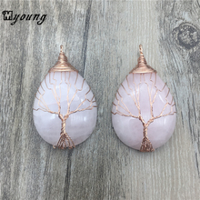 Water Drop Natural Pink Quartz crystal Pendant , Rose Gold Color copper Wire Winding Handmade charm pendant MY1427 fyjs unique handmade weave natural rose pink quartz pendant rope chain necklace cylinder jewelry