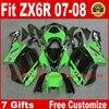 High Quality Fairings For Kawasaki ZX6R Fairing Kits 2007 2008 Green Black Plastic Bodywork Parts ZX