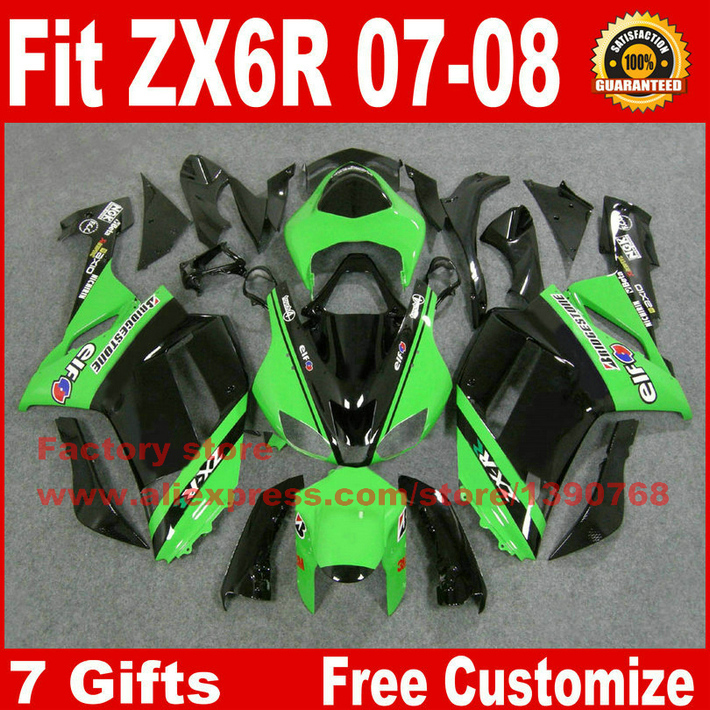 цены High quality fairings for Kawasaki ZX6R fairing kits 2007 2008 green black plastic bodywork parts ZX-6R 07 08 Ninja 636 ZQ35