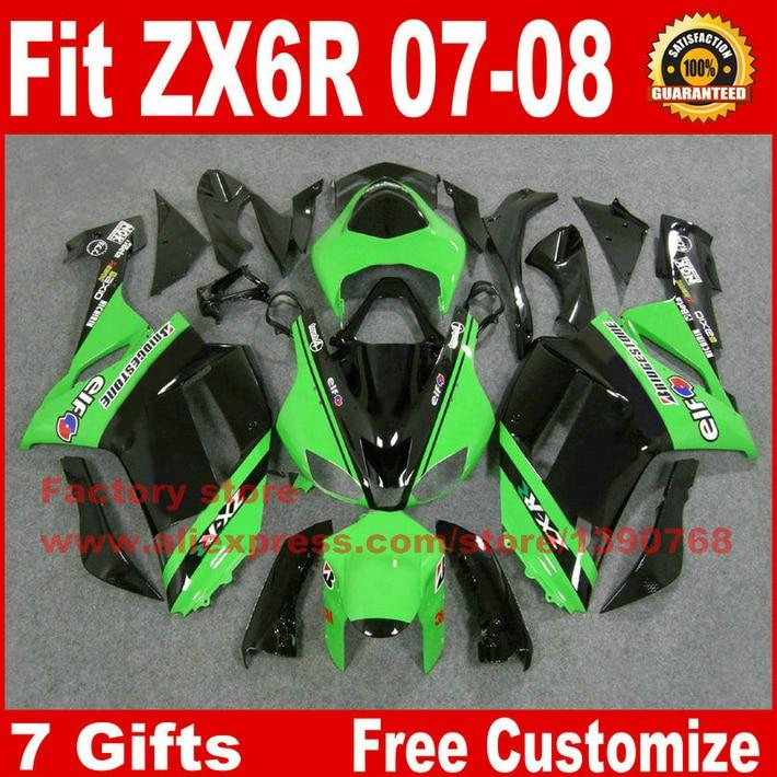 High quality fairings for Kawasaki ZX6R fairing kits 2007 2008 green black plastic bodywork parts ZX-6R 07 08 Ninja 636 ZQ35