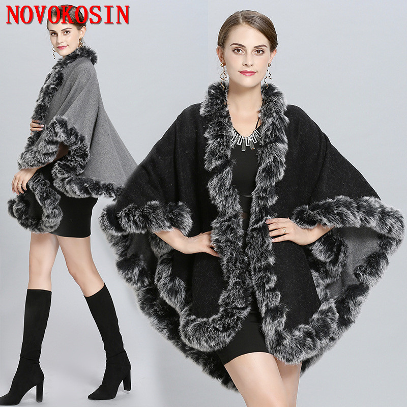 Winter Warm Cape Thick Black With Red Coat 2019 Poncho Women Double Side Faux Fur Neck Plus Size Big Pendulum Dovetail Cardigan