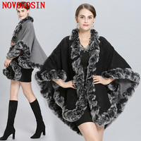 Winter Warm Thick Bat Sleeved Coat 2018 Poncho Women Double Side Faux Fur Neck Cape Plus Size Big Pendulum Dovetail Cardigan