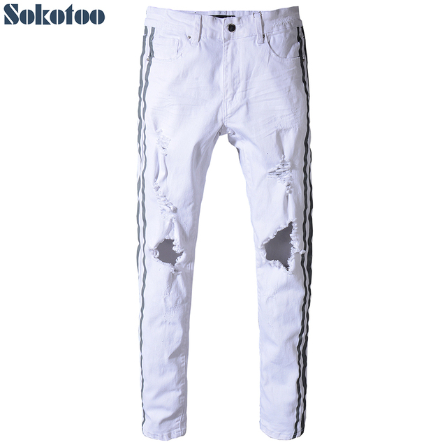 Sokotoo Men's slim fit grey stripe printed white ripped jeans Plus size skinny stretch denim pants