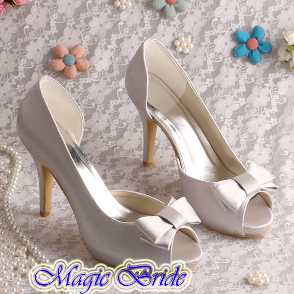 ФОТО New Arrival Satin Pure White Platform Summer Shoes  Chinese Wedding Women High Heels with Bows Dropship