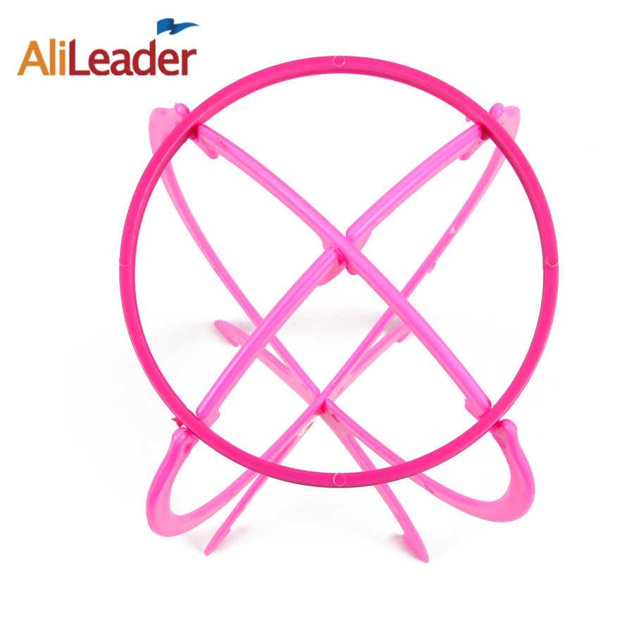 Salon/Thuisgebruik Folding Stabiel Duurzaam Pruik Stand Plastic 1 Pc Zwart/Roze Kleur Wigstand Pruik Houders Voor styling Pruik Ongeveer 18x36Cm