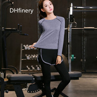 DHfinery women sport two piece set summer short sleeve t shirt and shorts plus size s 4XL black and gray tracksuit bs5385