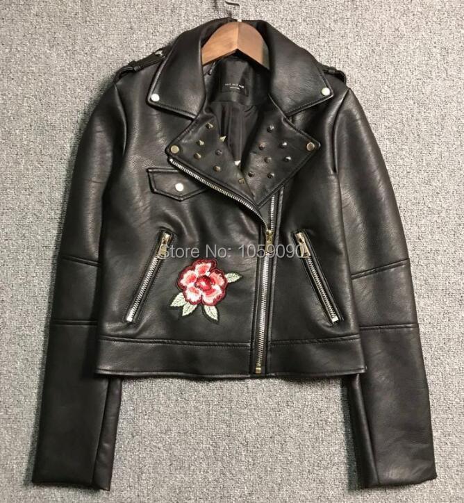 Mode Biker Collier Étiquette Court Femme Nouveau Broderie Patch Fleurs Longues 2017 Noir Stud Manches Veste Printemps Avec Des À 1wE0F