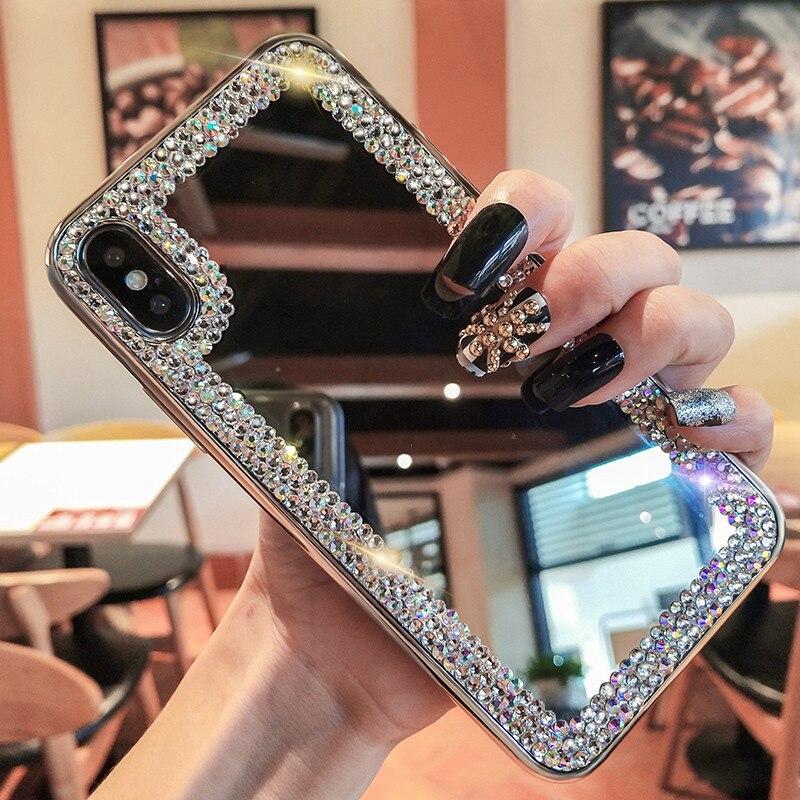 Luksusowe lustrzane etui do iphone 6 6s plus 7 8 plus xs max xr x tylna pokrywa do coque huawei p smart 2019 nova 2i 3i honor 10 lite