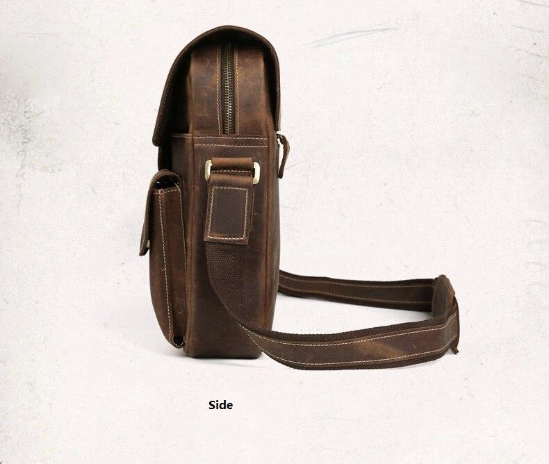 Crazy horse couro do vintage bolsa mensageiro