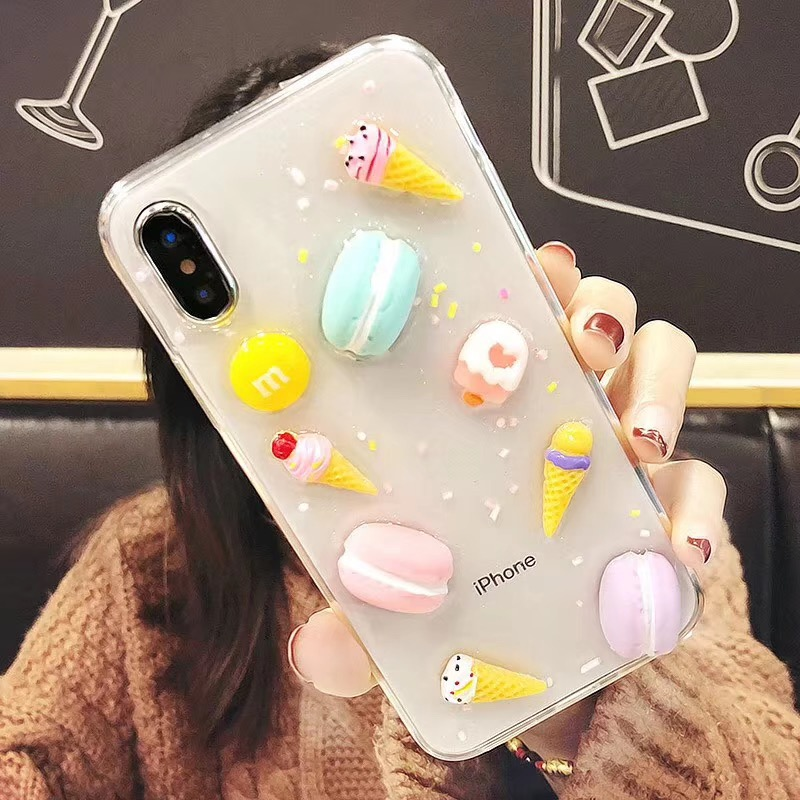 For iPhone XS Max XR X 8 7 6 6S Plus Cover 3D Gummy Bear Ice Cream Cake  Glitter Sparkle Clear Soft TPU Case-in Fitted Cases from Cellphones ... 91c797802015