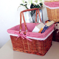 2017 Creative manual cane Fruit and vegetable basket shopping basket gift basket picnic basket Square and oval shape available