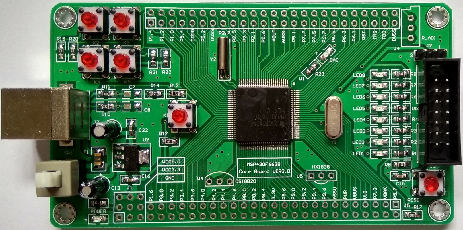 USB MSP430F6638 Minimum System Board Core Board USB Development Board USB Programming linux system programming