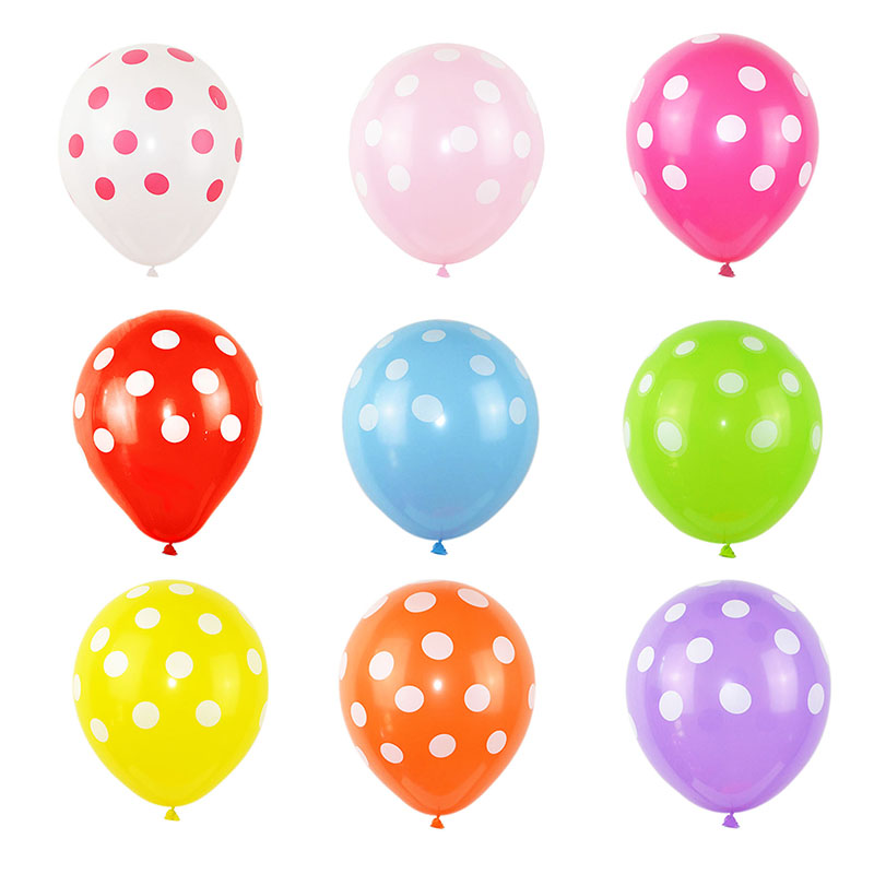 5 10Pcs 12inch Multicolor Polka Dot Latex Balloon For Children Birthday Party Baby Shower Theme Party Decor Supplies Air Globos in Ballons Accessories from Home Garden