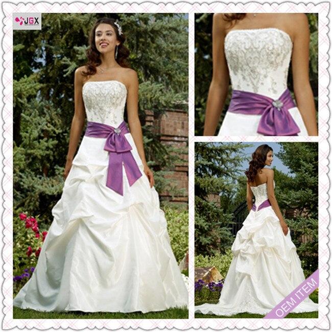 Off White And Purple Wedding Dress - Short Hair Fashions