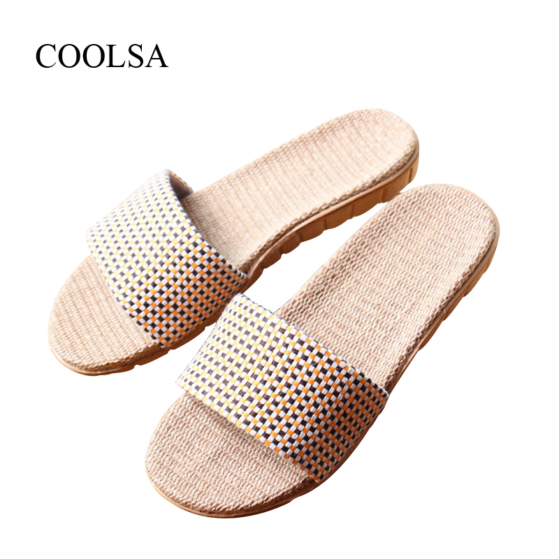 COOLSA Women's Summer Flat Linen Slippers Indoor EVA Plaid Flat Shoes Women's Home Indoor Slippers Beach Non-slip Flip Flops coolsa new summer linen women slippers fabric eva flat non slip slides linen sandals home slipper lovers casual straw beach shoe page 3