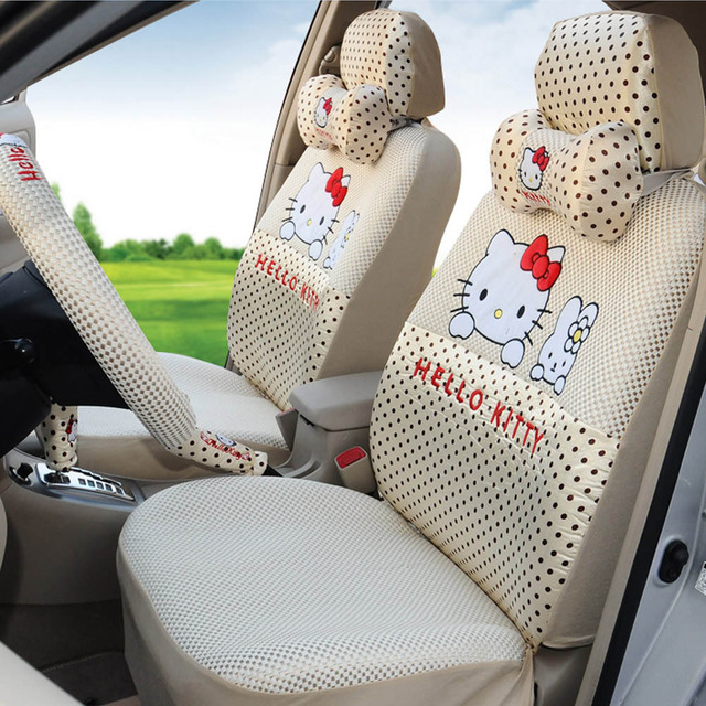 Hello Kitty 18pcs Ice Silk Beige Universal Car Seat Cover Professional Cushion Women