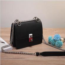 real leather rivet bags brand design small  handbags with silver  metal chain  fashion  crossbody bag Messenger bag