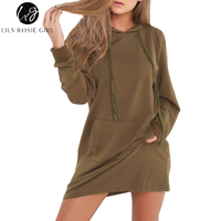 Lily Rosie Girl 2017 Autumn Winter Army Green Jumper Dress Long Sleeve Short Casual Vestidos Black