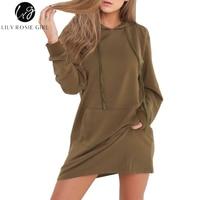 Lily Rosie Girl 2017 Autumn Winter Army Green Jumper Dress Long Sleeve Short Casual Vestidos Black