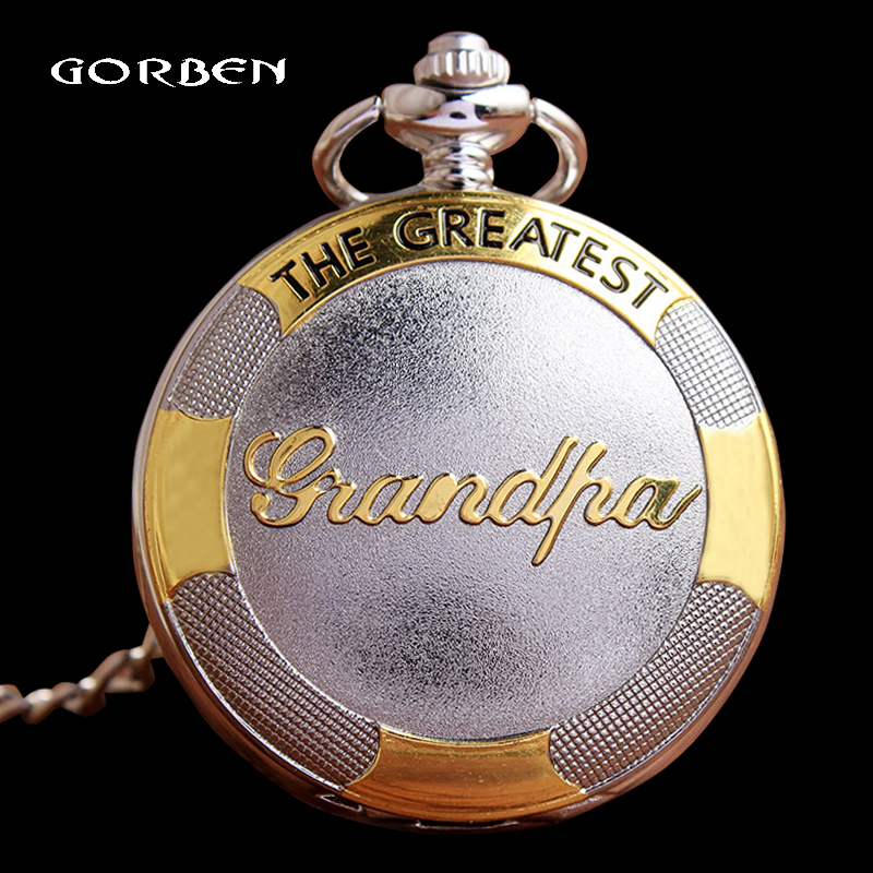 Luxury Silver Gold Quartz Pocket Watch Grandpa Pocket Fob Watches With Chain For Men Grandfather Xmas Gifts Relogio De Bolso