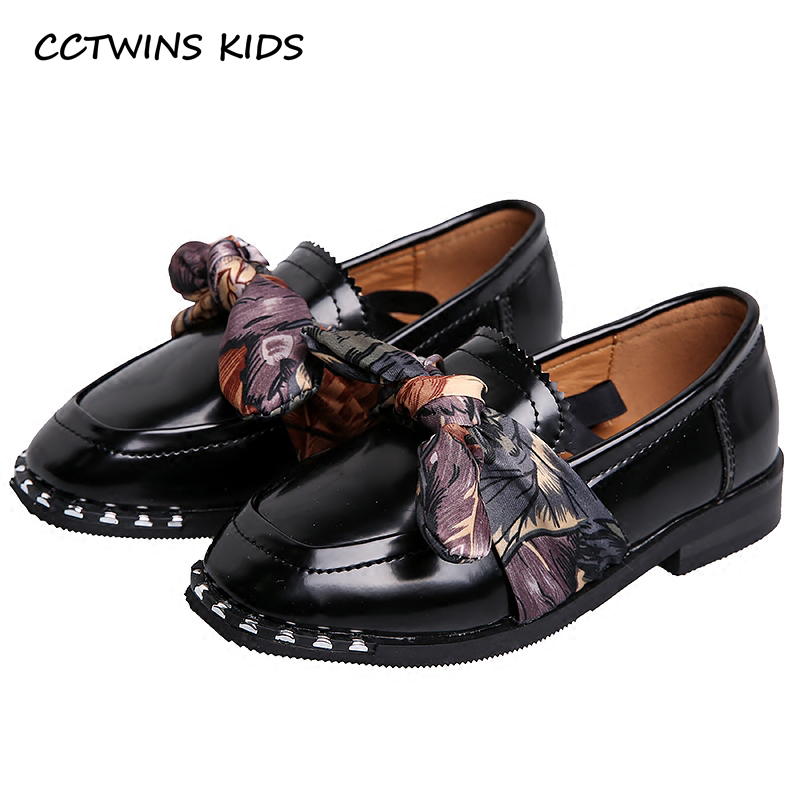 CCTWINS KIDS 2018 Spring Baby Bow Pu Leather Black Flat Toddler Girl Stud Shoe Child Princess Fashion Slip On Loafer G1622 adidas performance natweb i slip on shoe toddler
