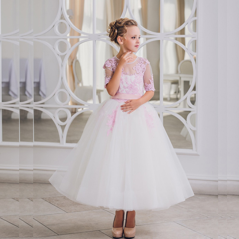 все цены на Tulle Flower Girl Dresses For Girl Party With Appliques Pageant Dress Half Sleeve Mother Daughter Dresses with Sashes Bow